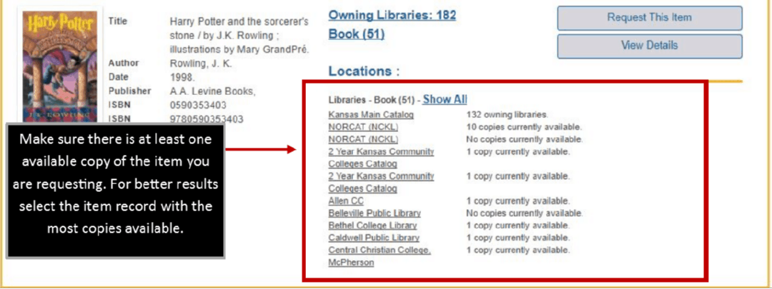 Red box around a list of libraries with available copies of an item.