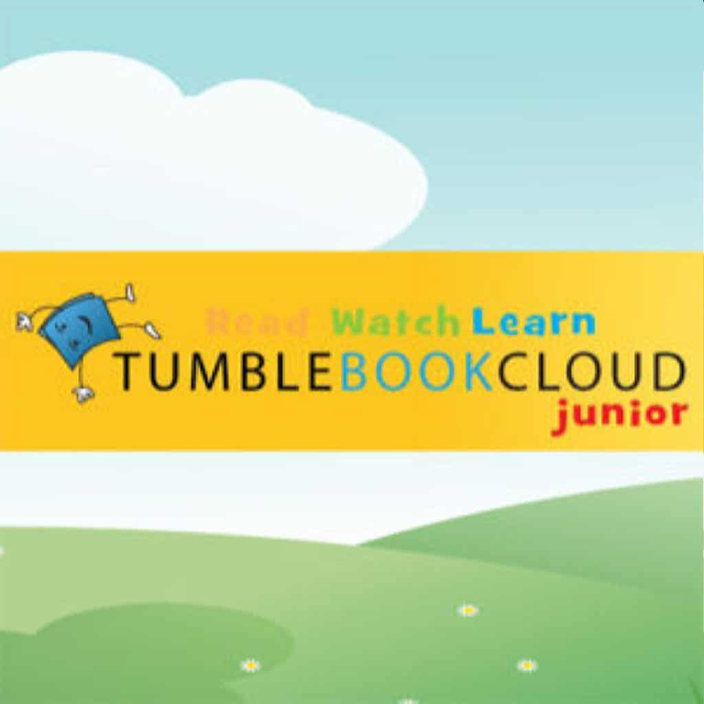 graphic of clouds and hills with tumblebook cloud junior logo