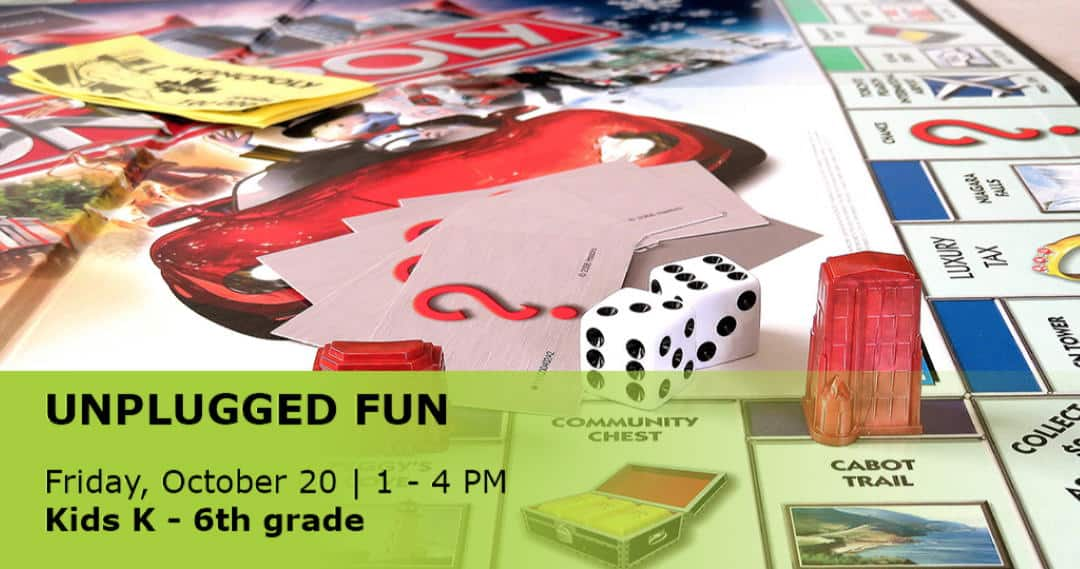 photo of a board game advertising the kids unplugged fun event on September 22