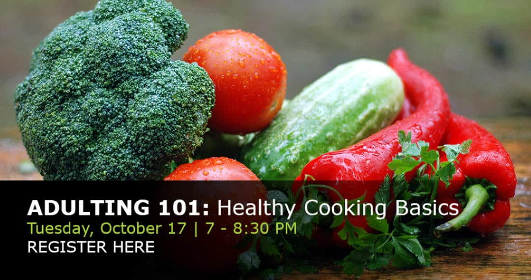 photo of vegetables and link to sign up for the healthy cooking class
