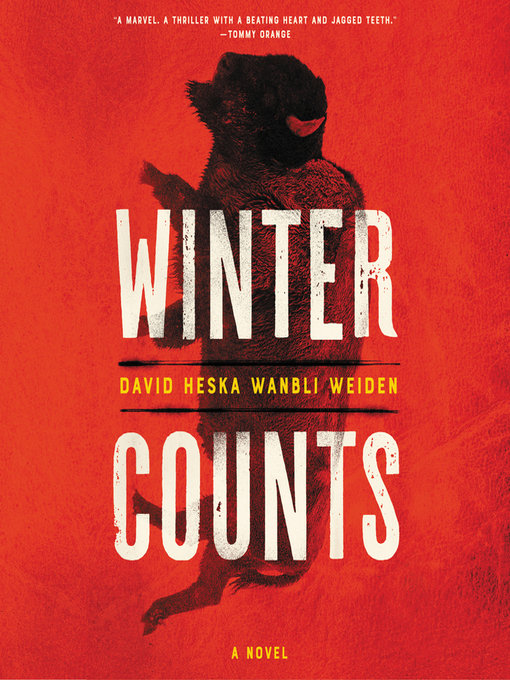 """Image of the front cover of the book """"Winter Counts"""" by David Heska Wanbli Weiden. It has a bright red background and a vertical image of a buffalo overlaid with the title of the book in white text."""